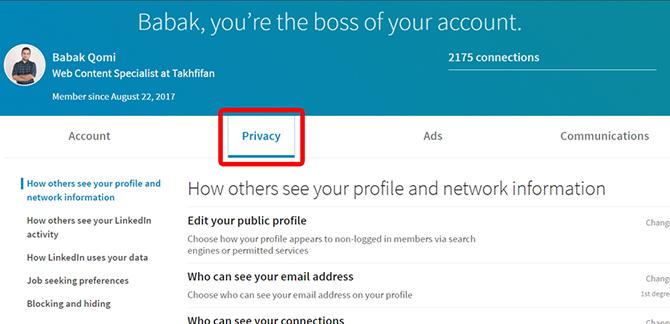 linkdin privacy 2 1 - معرفی انواع شبکه های اجتماعی