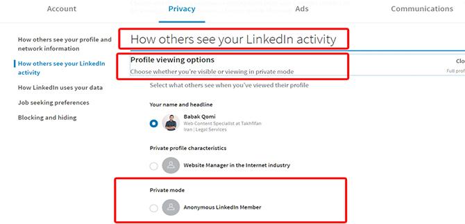 linkedin privacy 3 1 - معرفی انواع شبکه های اجتماعی